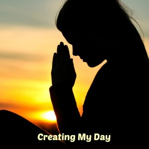 Silhouette of a young unrecognizable woman praying
